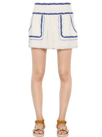 skirt embroidered cotton white blue