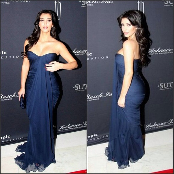 dress strapless dress evening gown prom dress kim kardashian fitted sexy
