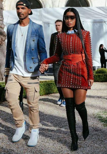Dress Streetstyle Paris Fashion Week 2017 Fashion Week 2017 Nicki Minaj Boots Belt
