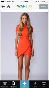 tangerine,dress,orange dress,asymmetrical,bodycon dress,orange