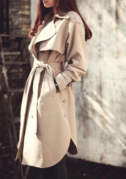 British style long trench coat parka jacket beige nude