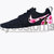 Free Shipping -- Nike Roshe Run Black White Azalea Garden Floral Print Custom Womens