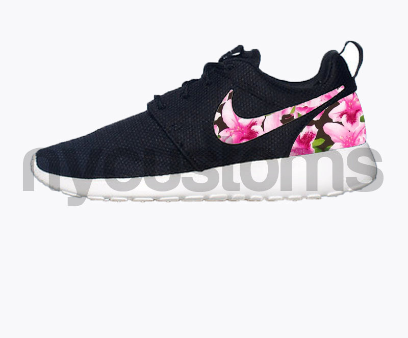 Free Shipping -- Nike Roshe Run Black White Azalea Garden Floral Print Custom Womens