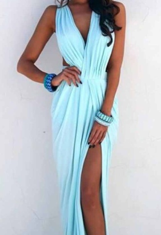 dress summer blue dress front slit light blue dress mint dress