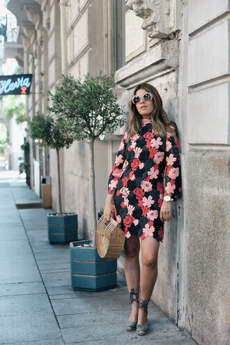 dress tumblr floral floral dress mini dress long sleeves long sleeve dress espadrilles sandals wedges wedge sandals bag basket bag sunglasses shoes