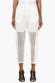 Avelon White Mesh & Leather Trousers for women | SSENSE