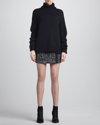ALC Lukas Oversize Knit Sweater & Snap-Front Tweed Skirt - Neiman Marcus