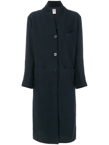 coat women cotton blue wool