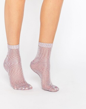 socks cute socks shiny glitter sheer pink