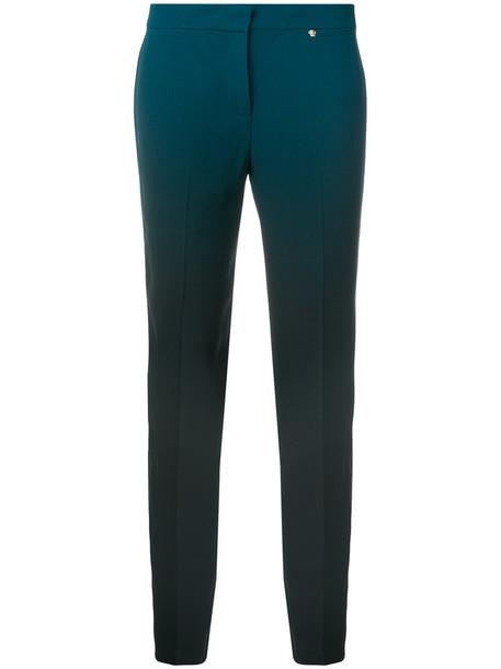 women blue silk pants