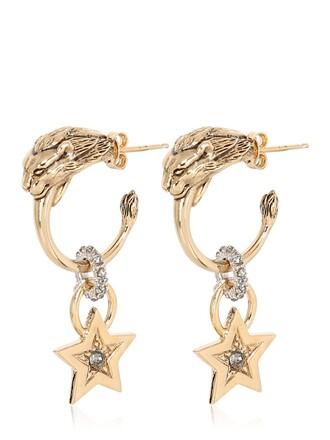 earrings pendant gold black jewels