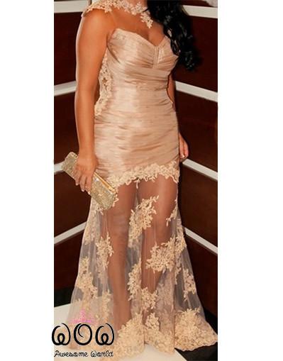 Champagne transparent dress