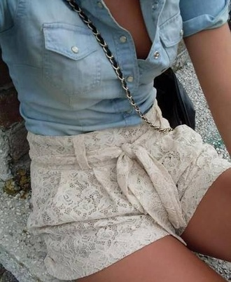 floral shorts denim top pockets handbag denim shirt blouse