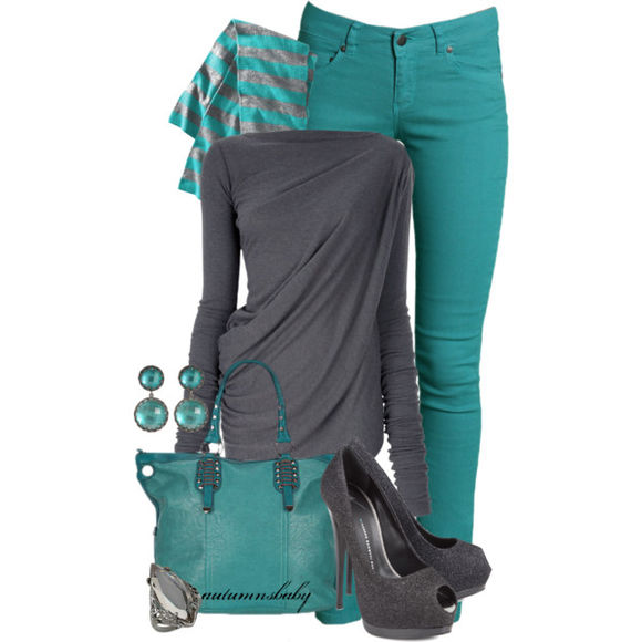 grey shirt shirt blouse top draped shirt long sleeves purse bag teal purse grey grey heels high heels shoes peep toe heels bracelet earrings scarf pants jeans teal jeals aqua turquoise clothes outfit