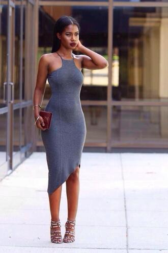 dress grey bodycon strappy jersey fitted bodycon dress asymmetrical dress racerfront jersey dress figure hugging birthday dress