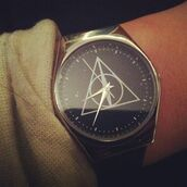 jewels,watch,harry potter,harry potter and the deathly hallows,tick,tock,tick tock,nice,grey,black,wrist