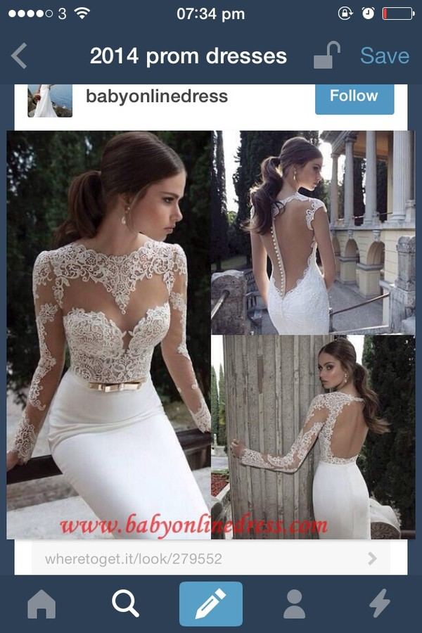 dress prom lace white pretty