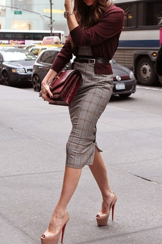 plaid skirt office outfits dressy pencil dress fall outfits burgundy