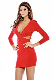 Twisted front long sleeve cut out dress