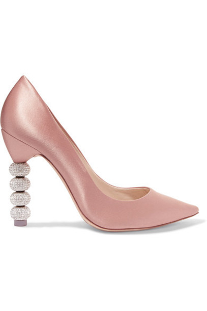 Sophia Webster rose embellished pumps satin shoes