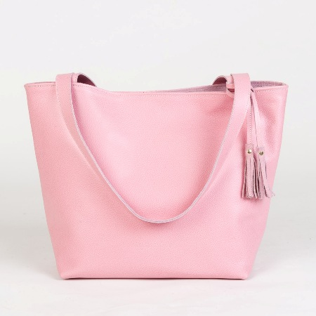 The Emeli Leather Tote Bag (Pastel Pink) Dunmore Scotland Made in ...