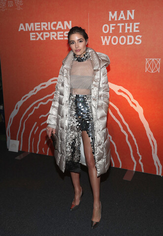 skirt top metallic sequins olivia culpo jacket shoes pumps slit skirt