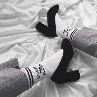 socks yeah bunny alone space leave white black