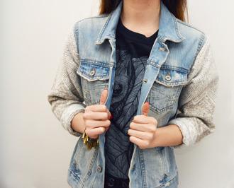 jacket denim jacket denim sweater blue sweet vintage retro cute