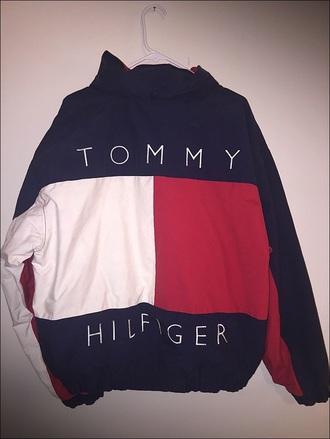 jacket vintage oversized blue white red tommyhilifier jacket