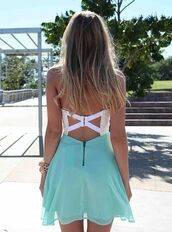dress,short dress,teal and white dress,open backed dress,clothes,blue skirt,blogger,prom dress,pretty,flow,blue,white,cross,open back,summer