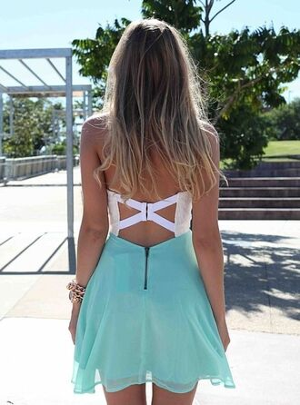 dress short dress teal and white dress open backed dress clothes blue skirt blogger prom dress pretty flow blue white cross open back