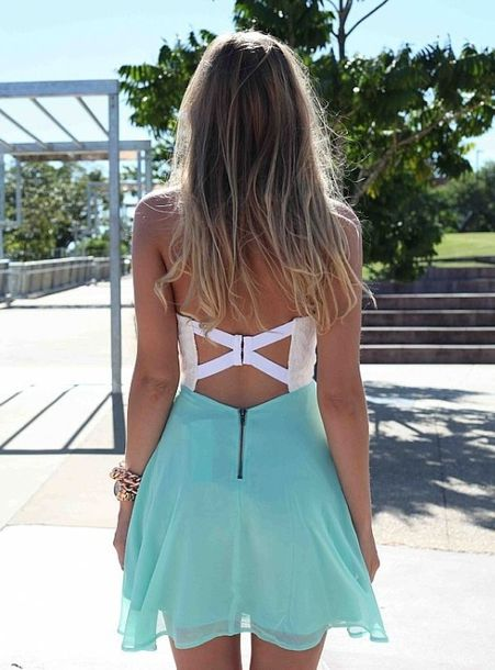 dress short dress teal and white dress open back clothes blue skirt blogger prom dress pretty flow blue white cross open back