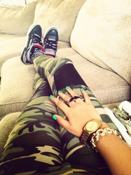 faux green leggings camouflage pants jewels