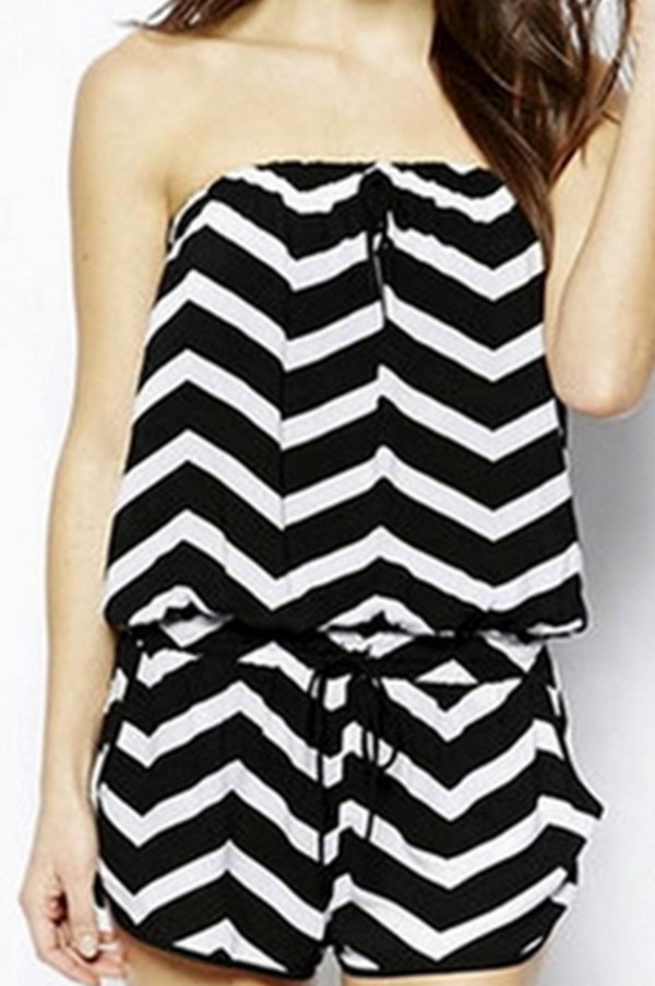 jumpsuit chevron romper black and white