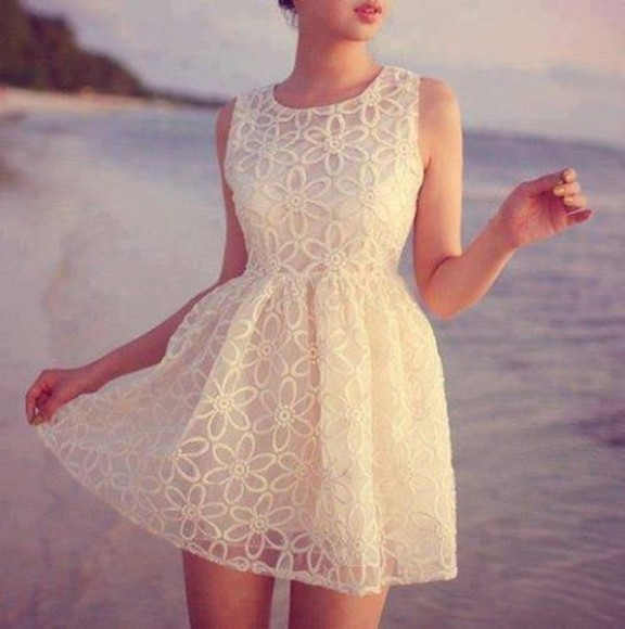 dress flowers floral lace dress whitelacedress clothes white dress white flower dress model beach flower lace up white dress, flowers print cute dress dentelle dentelle dress summer cute girly blondes summer dress frilly dress