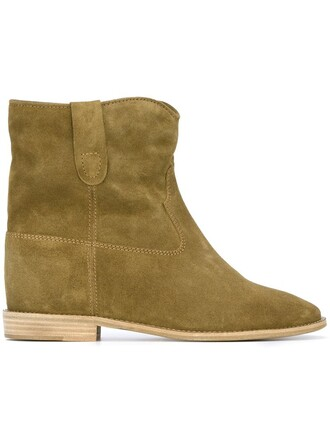 women boots leather suede green shoes