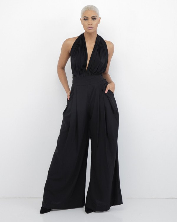GO WITH THE FLOWY Wide Leg Pant in Black at FLYJANE