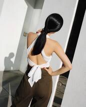top,open back,open back top,backless,backless top,sexy,sexy top,pants,white top