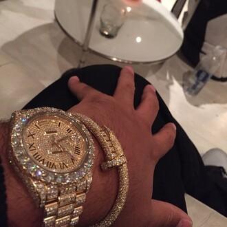 jewels iced out watch dj khaled watch gold watch gold diamonds bracelets jewelry