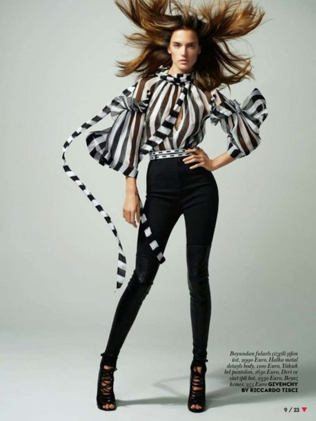 blouse alessandra ambrosio stripes editorial givenchy