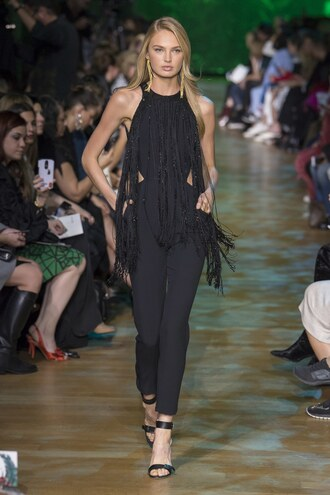 jumpsuit black black top top paris fashion week 2017 runway model romee strijd elie saab