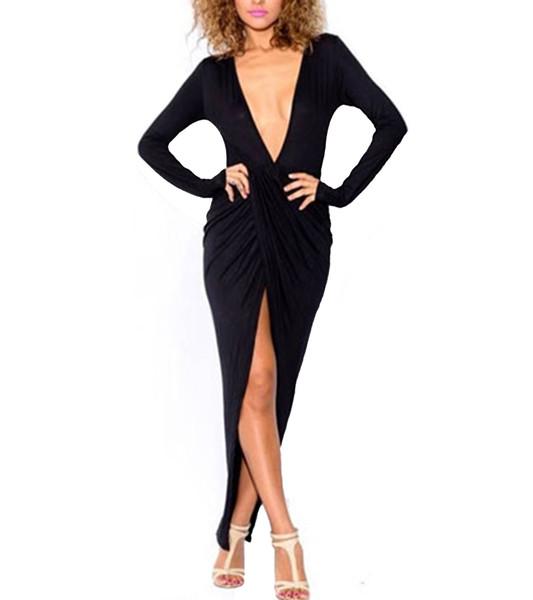 Black plunging v neck wrap maxi dress