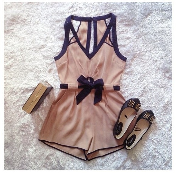 romper black dress cute bows ballerina elegant weheartit style lovely beige nude clutch rose fashion outfit classy shorts shoes shirt vintage romper black and tan blouse cream dress nude romper nude and black one piece flats jumpsuit