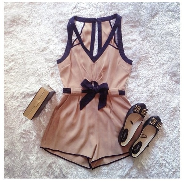 shorts romper romper black shoes scarf ballet flats shirt vintage romper black and tan bow blouse dress weheartit cute elegant style lovely beige nude ballerina clutch rose fashion outfit classy romper cream dress nude romper nude and black one piece flats flatshoes jumpsuit peach pink summer