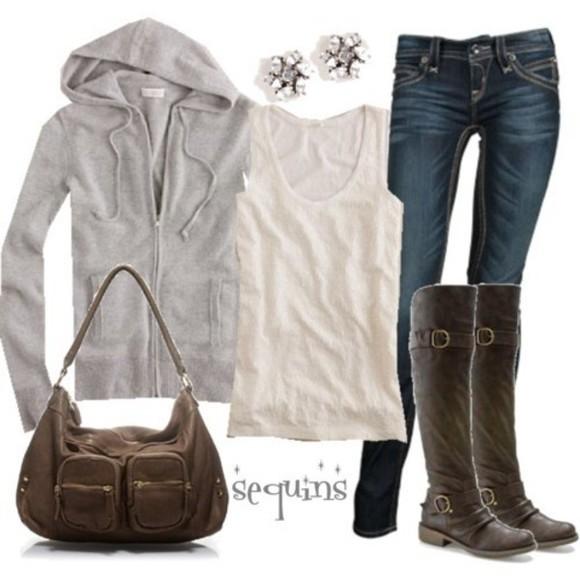white tank top grey hoodie