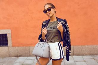 kenza blogger shorts jacket t-shirt bag sunglasses black leather jacket mini shorts