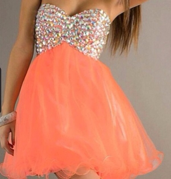 dress peach dress diamonds formal dress spring short prom dress