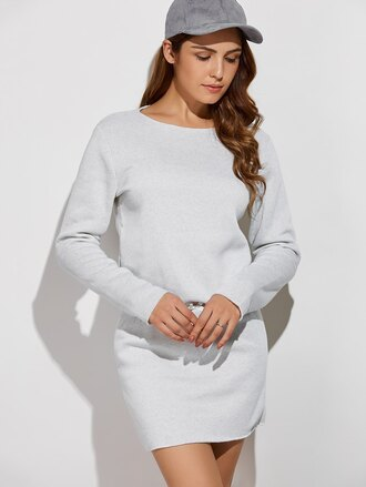 dress grey sweater dress casual comfy trendy cool long sleeves zaful