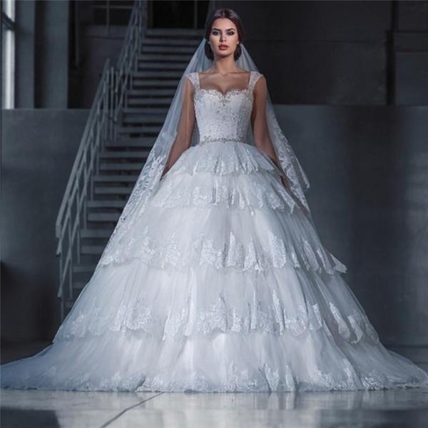 Princess Vintage Lace Ball Gown Bling Wedding Dresses 2015 Maison ...
