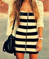 dress,striped dress,zipper dress,clothes,girly,bag,jacket,black dress,white,tight,zip,stripes,black,black and white,bodycon,jewels,cardigan,blonde hair,leather bag,print,lace,spring,white dress,short dress,cute dress